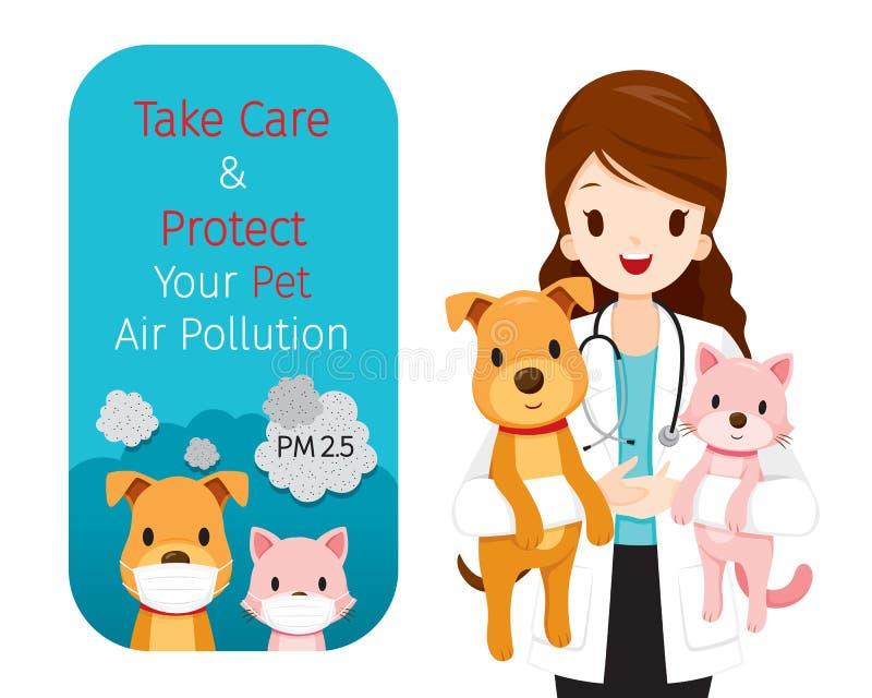 Żeński weterynarza przewożenia pies i kot W Jej rękach, sztandar Jest ubranym zanieczyszczenie powietrza maskę Dla gacenie pyłu P ilustracja wektor