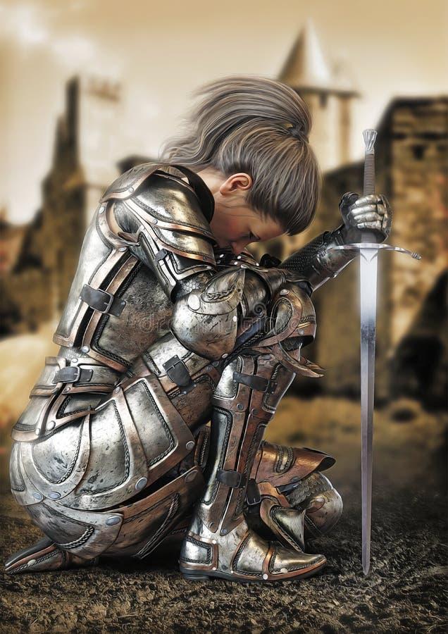 Żeński wojownika rycerza klęczenie jest ubranym dekoracyjnego metalu opancerzenie z kasztelem w tle royalty ilustracja