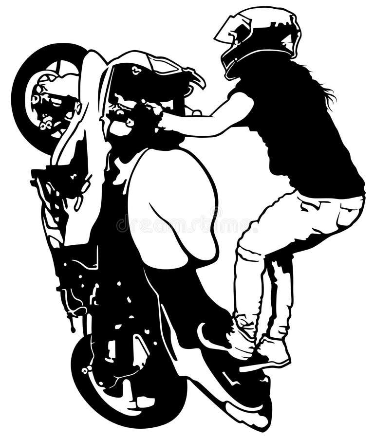 Żeński wyczynu kaskaderskiego jeździec ilustracja wektor