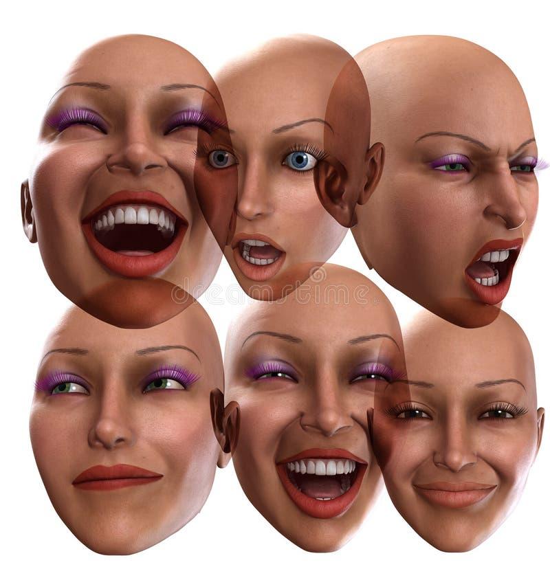 Żeńskie Emocje 2 royalty ilustracja
