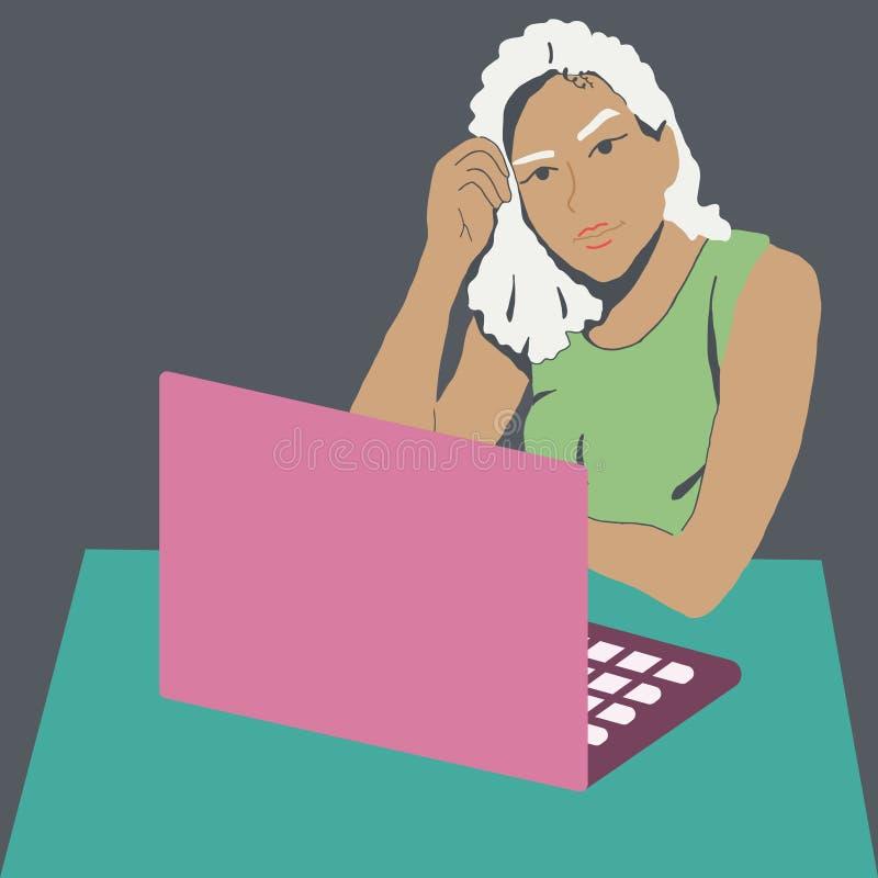 Żeńskie freelancer pracy z laptopem ilustracja wektor
