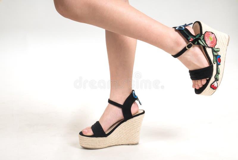 Żeńskie nogi w rocznik mody butach Odizolowywający na białym backgr obrazy royalty free