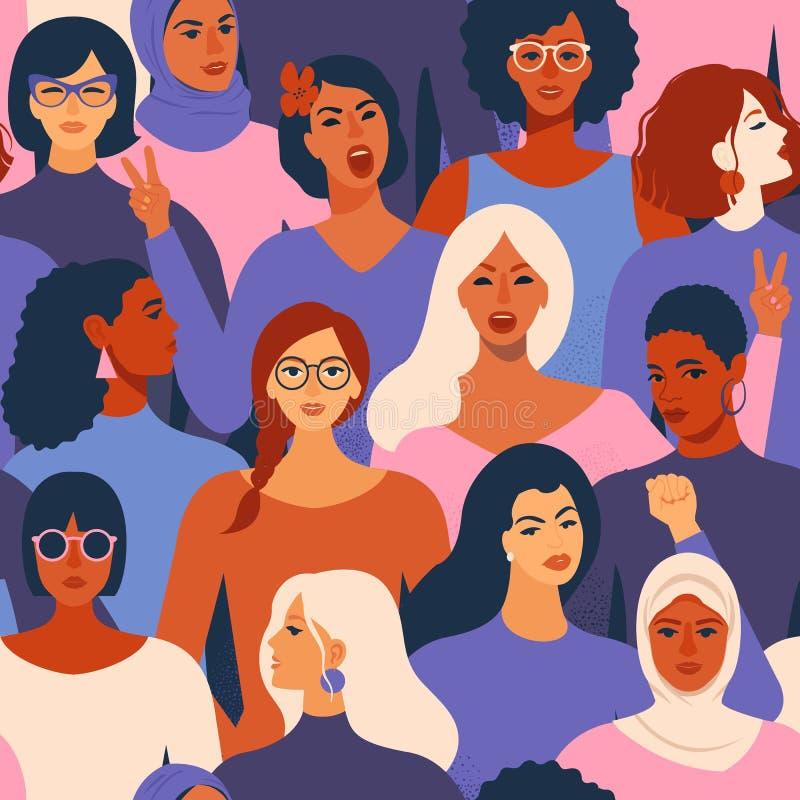 Żeńskie różnorodne twarze różnego pochodzenia etnicznego bezszwowy wzór Kobiety upełnomocnienia ruchu wzór Międzynarodowa kobieta ilustracji