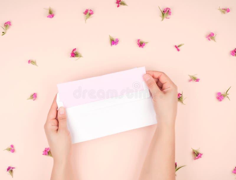 żeńskie ręki otwierają białej księgi kopertę w środku, list na menchiach tapetuje obraz stock