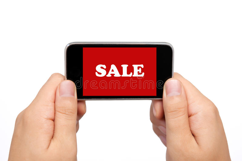 Żeńskie ręki target823_1_ telefon z sprzedażą obrazy royalty free