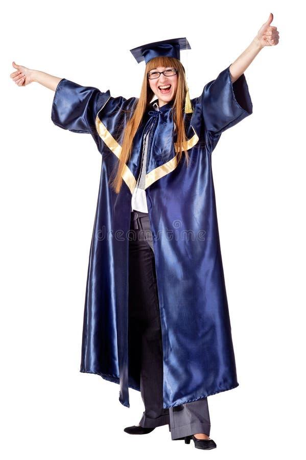 żeńskiego absolwenta szczęśliwe trwanie studenckie aprobaty fotografia stock