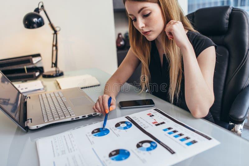 Żeńskiego bizneswomanu readind pieniężny raport analizuje statystyki wskazuje przy pasztetową mapą pracuje przy jej biurkiem obraz stock