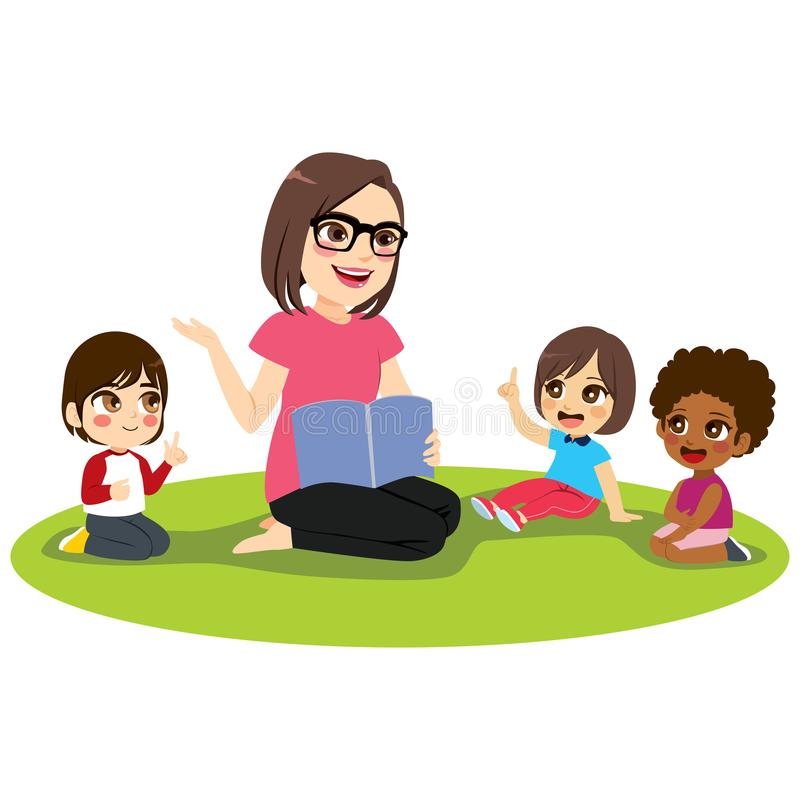 Żeńskiego nauczyciela dzieciaki ilustracja wektor