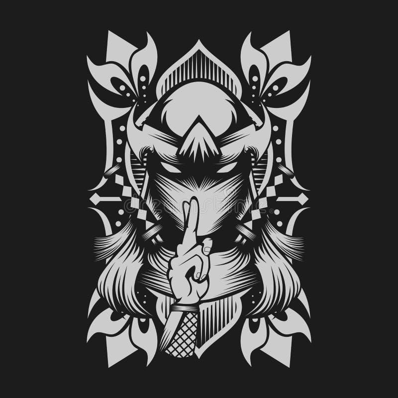 Żeńskiego ninja wektorowy ilustracyjny projekt ilustracji