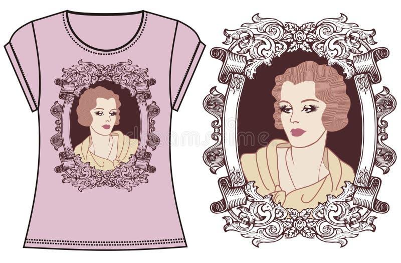 Żeńskiej mody druku ilustracyjna koszulka, bluza sportowa dla retro podlotek dziewczyny 20 ` s stylu Ubraniowy projekt royalty ilustracja