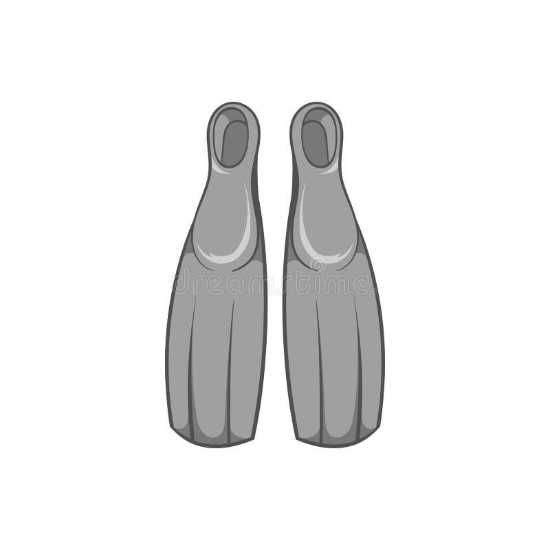 Żebra dla nurkowej ikony, czarny monochromu styl ilustracja wektor