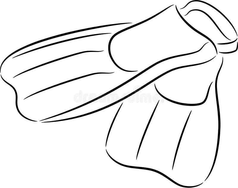 Żebra lub flippers dla nurkować ilustracji