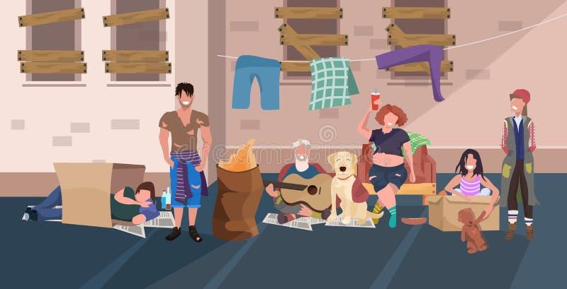 Żebrak grupy relaksujący kłaść w dół i spać wpólnie ludzie na ulicznego bezdomnego bezrobotnego pojęcia płaskiej pełnej długości ilustracji