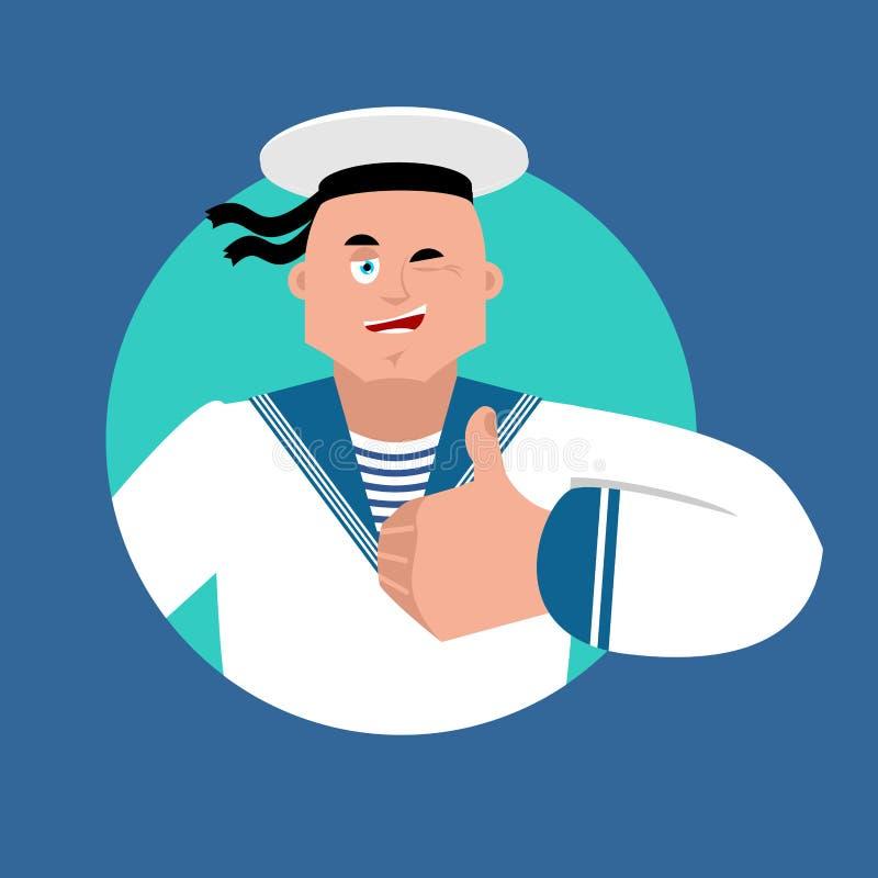 Żeglarzów mrugnięcia i aprobaty Rosyjskiego żołnierza żeglarza szczęśliwy emoji ilustracji
