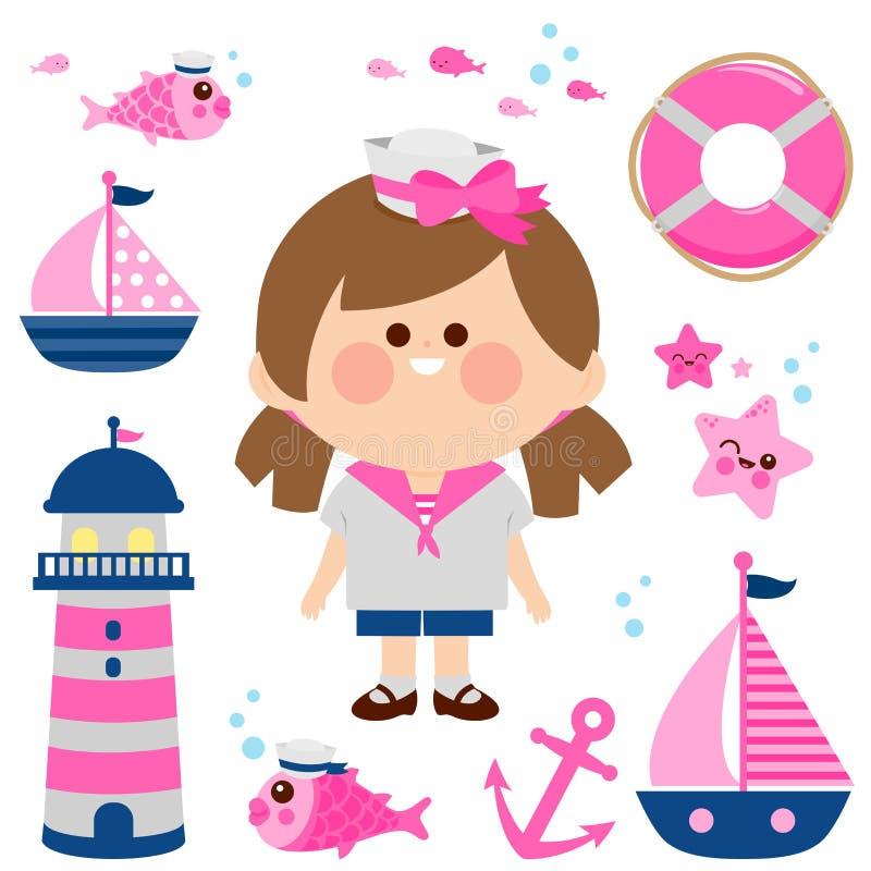 Żeglarz dziewczyny nautyczny set royalty ilustracja