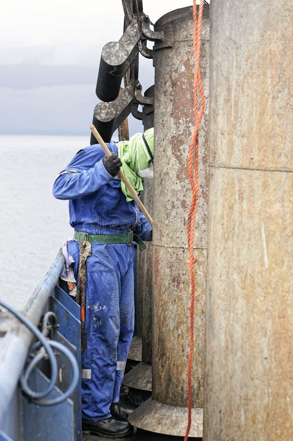 żeglarz farby stara ośniedziała drymba dalej nakrywa leja zdjęcia stock