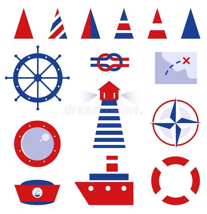 Żeglarz i morza ikony ilustracja wektor