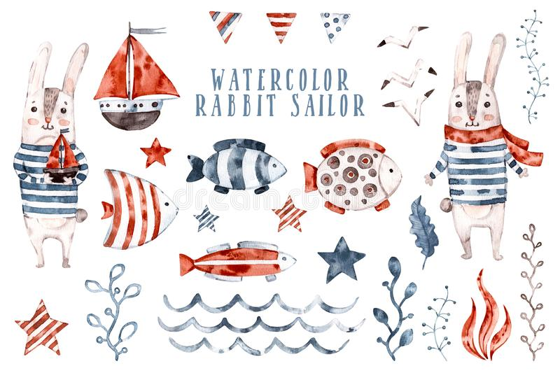 Żeglarz królika w kolorze wodnym, zestaw zwierząt do rysowania kreskówek Ręcznie malowane Cute dziecinny zbiór znaków, aquarelle obrazy royalty free