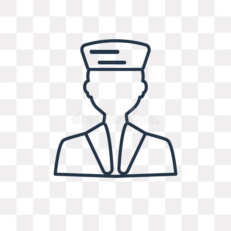Żeglarz wektorowa ikona odizolowywająca na przejrzystym tle, liniowy Sa ilustracja wektor