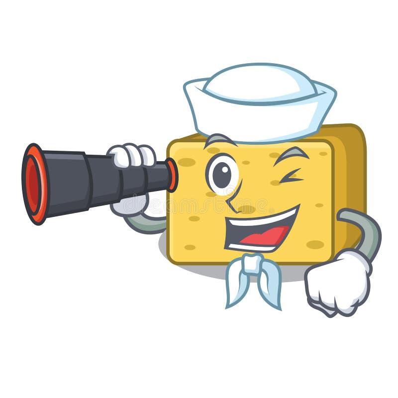 Żeglarz z obuocznym gouda serem składa kreskówkę ilustracja wektor