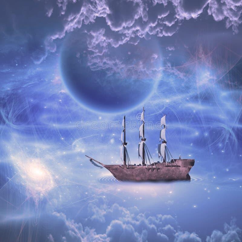 Żeglować gwiazdowego statek ilustracja wektor