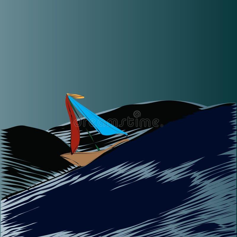 Żeglowanie łódź w burzy ilustracja wektor