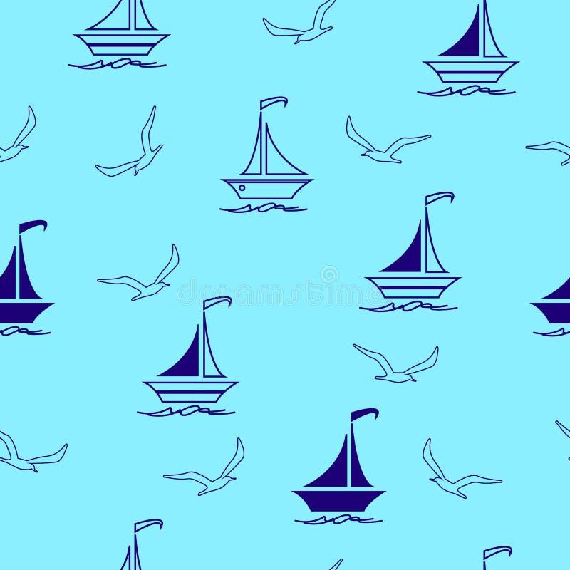 Żeglowanie łodzie bezszwowy wzór i seagulls, tkanina, nawierzchniowy projekt royalty ilustracja