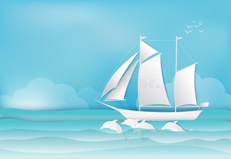 Żeglowanie delfin w dennej tło papieru sztuce i statek projektujemy royalty ilustracja