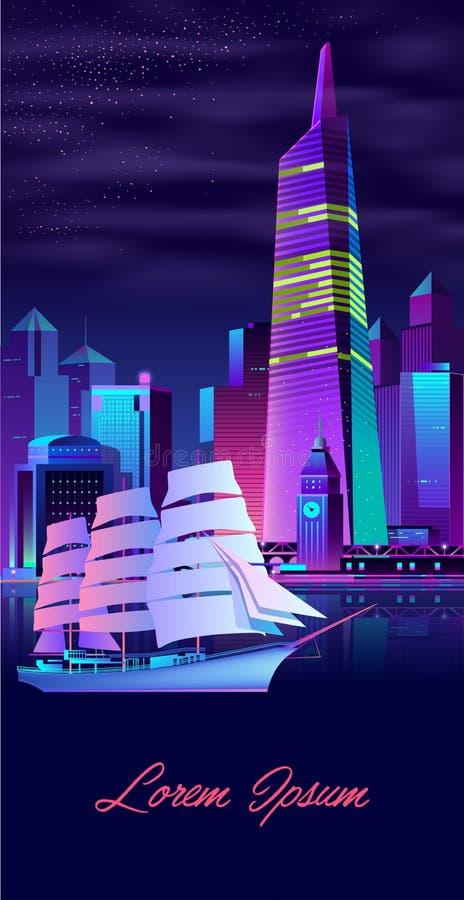Żeglowanie jacht w nowożytnym miasto zatoki kreskówki wektorze ilustracji