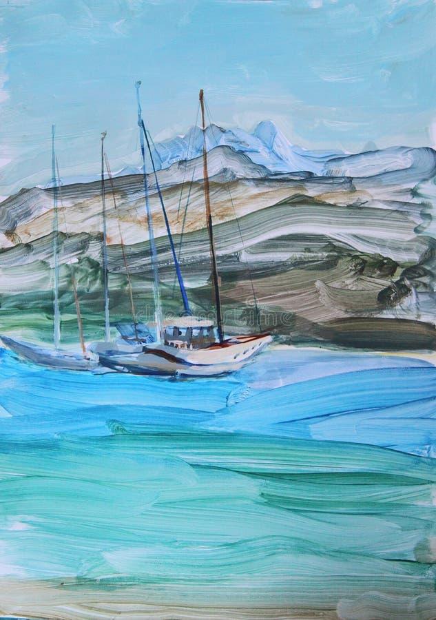 Żeglowanie jachty zbliżają brzeg ilustracja wektor