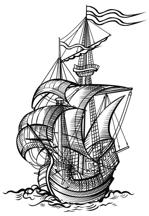 Żeglowanie stara łódź ilustracji
