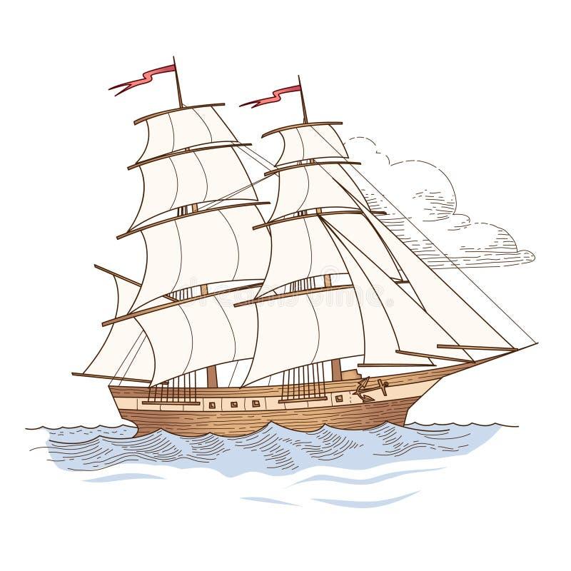Żeglowanie statek odizolowywający obrazy royalty free