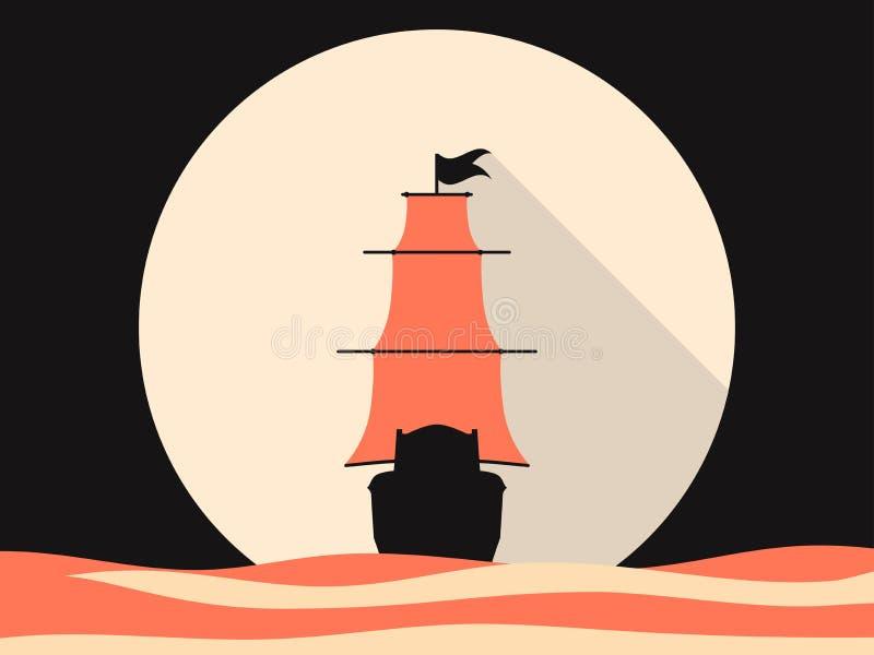 Żeglowanie statek w morzu, mieszkanie styl Średniowieczna żeglowanie fregata Retro grafika wektor royalty ilustracja