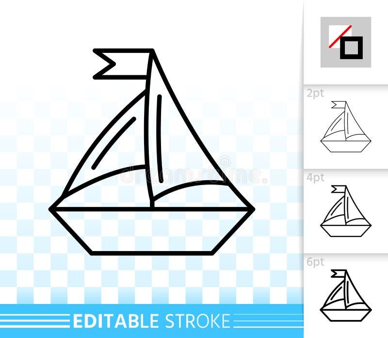 Żeglowanie statku czerni linii wektoru prosta ikona ilustracji