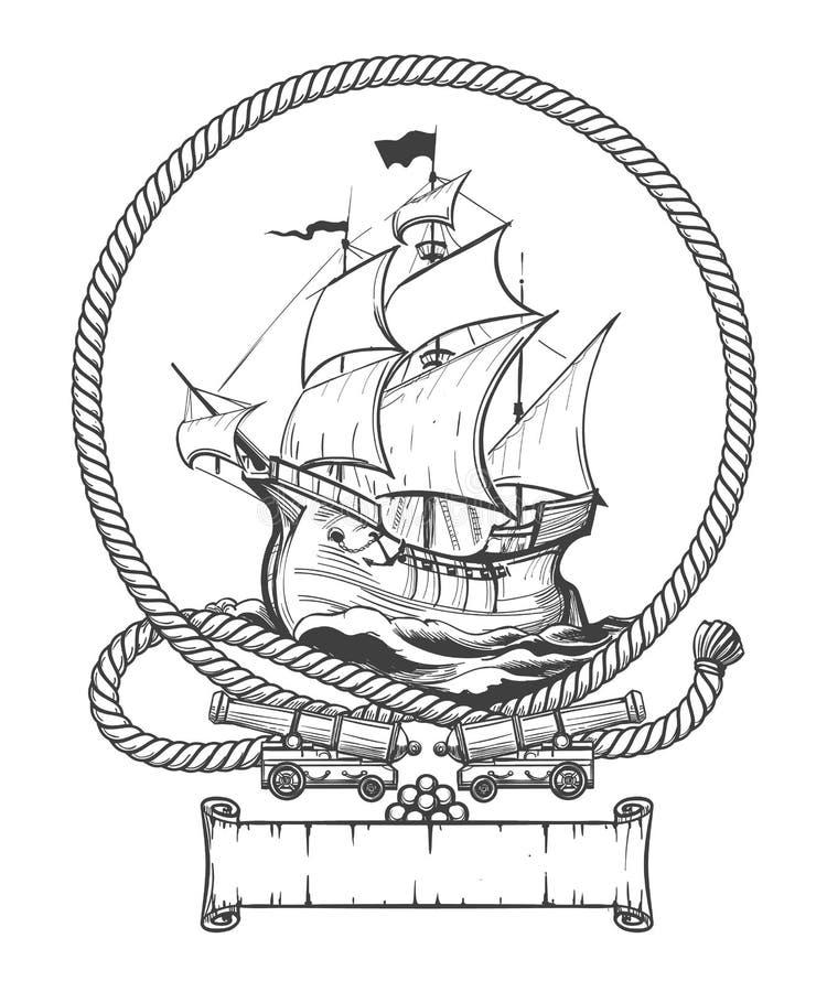 Żeglowanie statku rytownictwa ilustracja royalty ilustracja