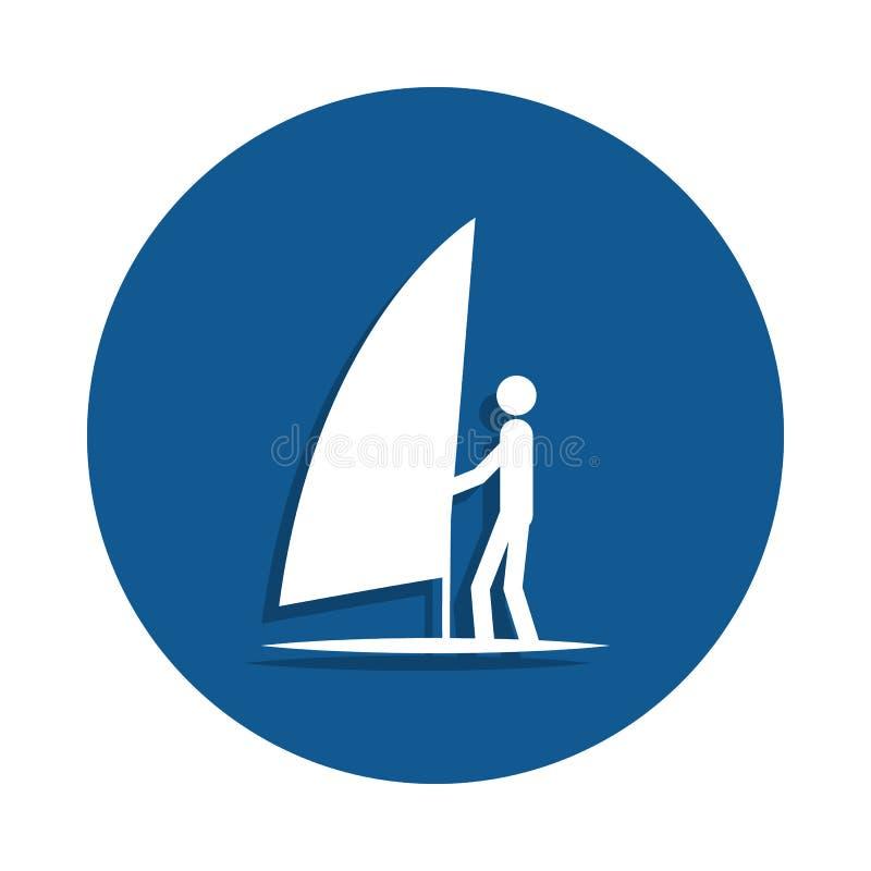 żeglowanie surfingu ikona w odznaka stylu Jeden sport inkasowa ikona może używać dla UI, UX royalty ilustracja