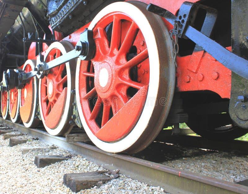 Żelaz koła stara rocznik lokomotywa na żelazie ostro protestować zakończenie zdjęcie royalty free