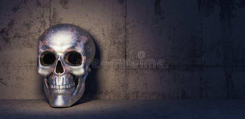 Żelazna czaszka w zmroku betonu pokoju 3d odpłaca się ilustracja wektor