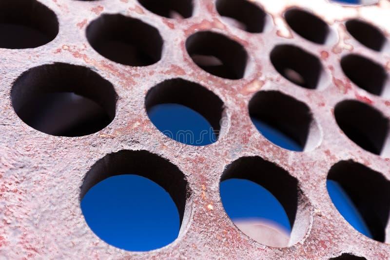 Żelazna round holey deseniowa przemysłowa tekstury tła cecha zdjęcia royalty free