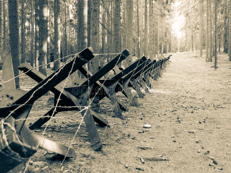 Żelazna zbiornik bariera od drugiej wojny światowej zdjęcia royalty free