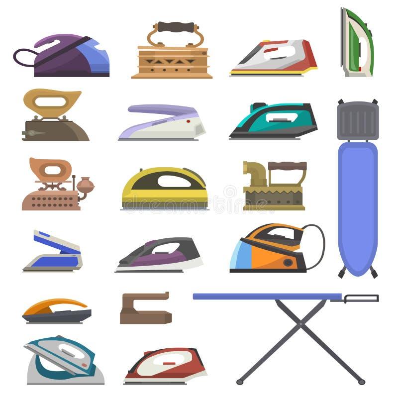 Żelaznego wektorowego prasowania gospodarstwa domowego elektryczny urządzenie pralnianego sprzątania ironii ilustracyjny housekee royalty ilustracja