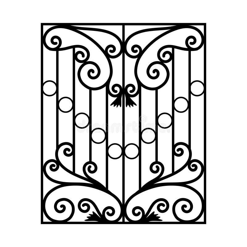 Żelazni nadokienni grille Nadokiennego poręcza wizerunku czerni wektorowa farba z wymiarem na białym tle royalty ilustracja