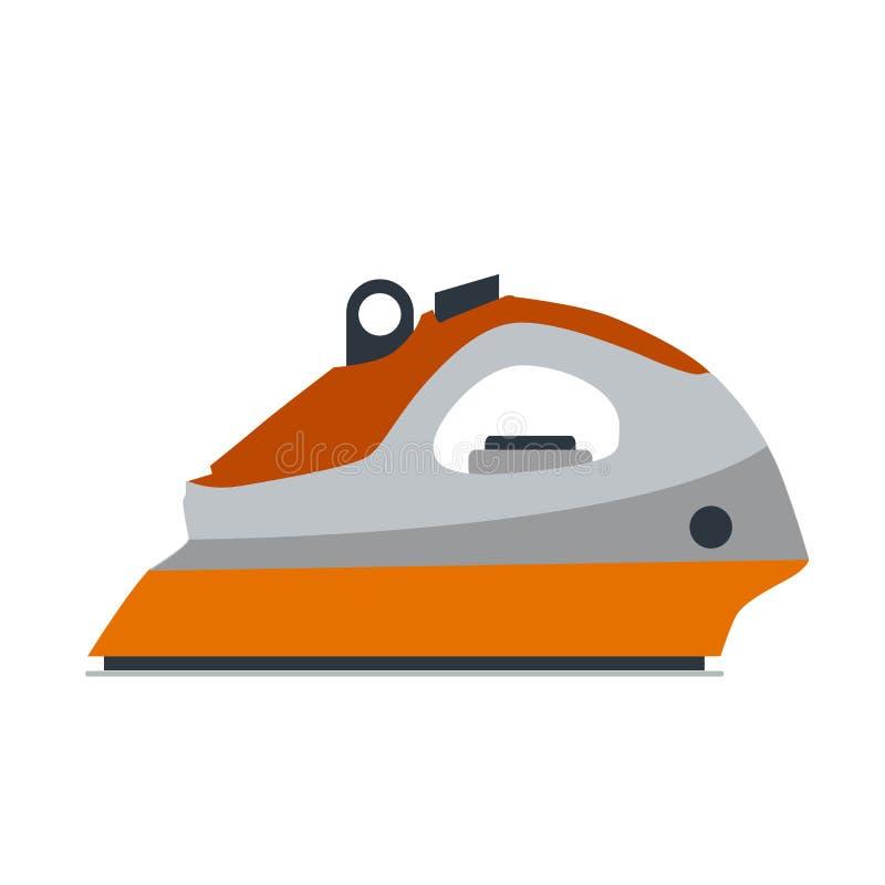 Żelazny parowy pralniany wektorowy wyposażenie ilustraci narzędzie odizolowywał ubraniowego prasowania domowej elektrycznej usług ilustracja wektor