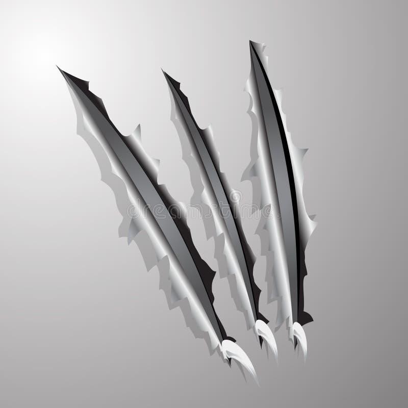 żelazny ptak drapieżny drapał poszarpaną ścianę ilustracja wektor