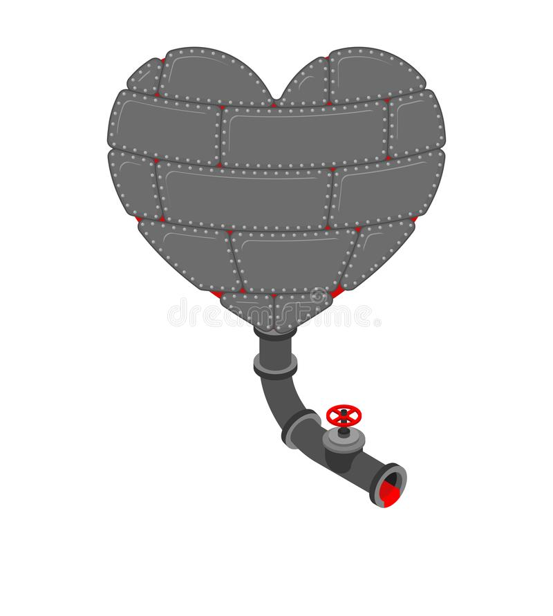 Żelazny serce z klepnięciem Metalu wewnętrzny organ stal ilustracja wektor
