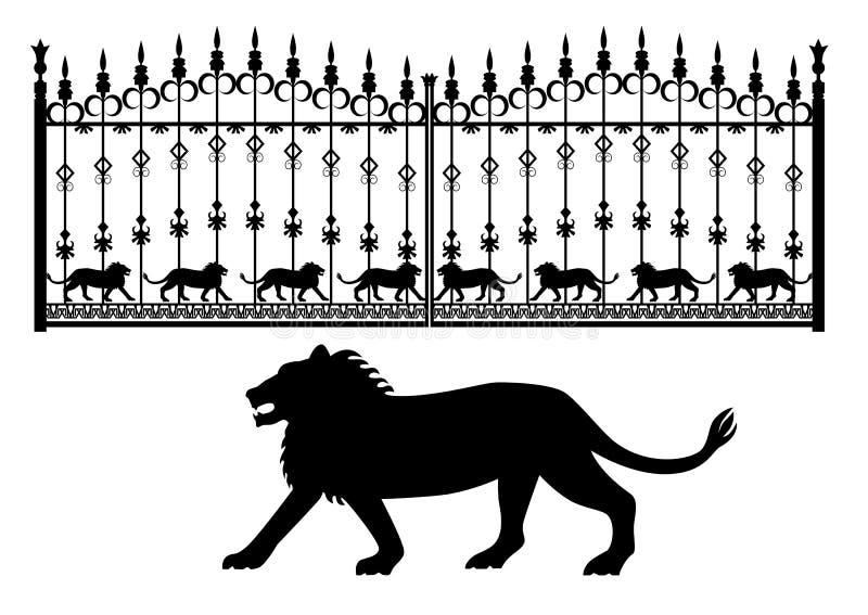 Żelazo bramy z lwami ilustracja wektor