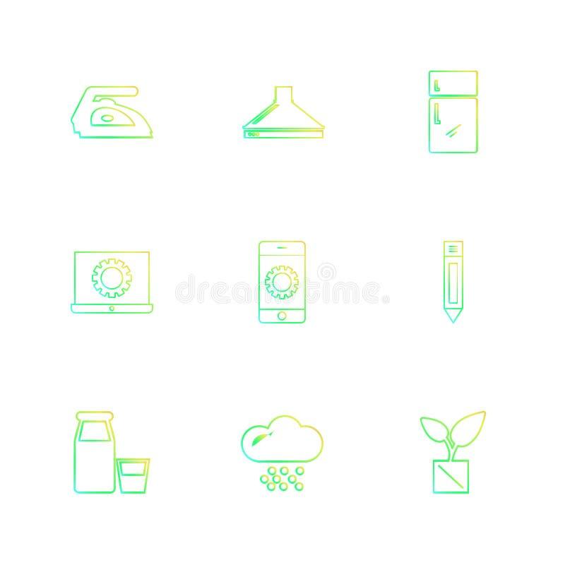 żelazo, fridge, laptop, ołówek, narzędzia, narzędzia, praca, c royalty ilustracja