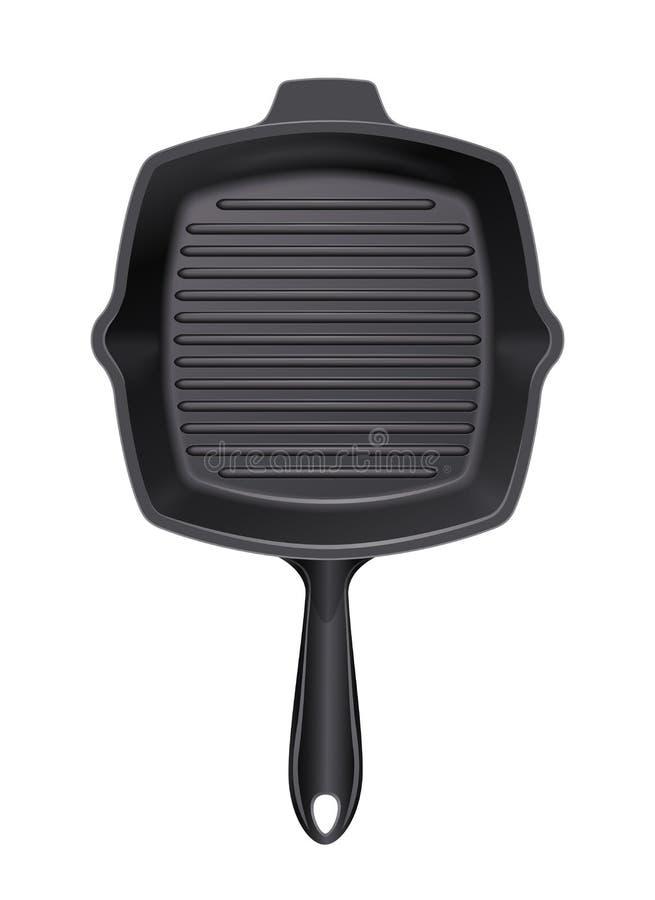 Żeliwna grill niecka dla kulinarnego grilla kaczki formularzowi kuchenni ładni poparcia naczynia royalty ilustracja