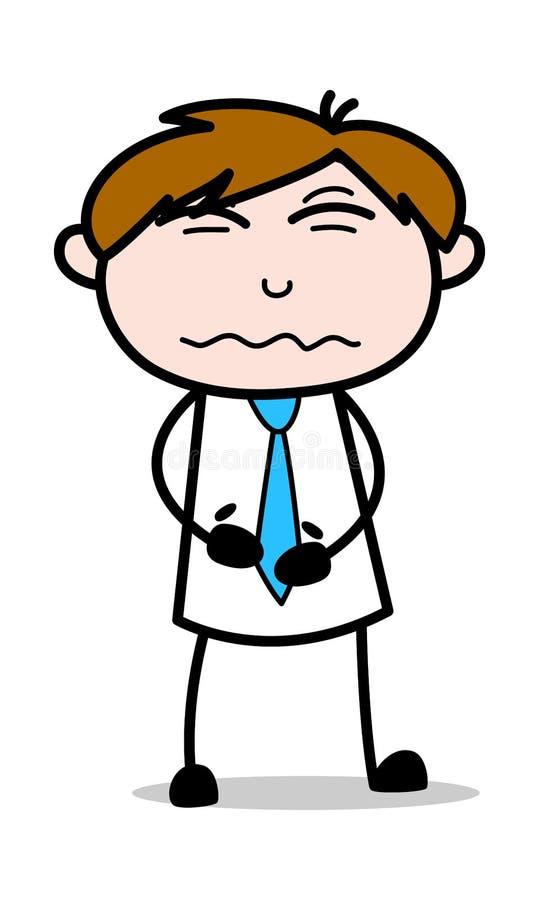 Żołądek obolałość - Biurowa sprzedawcy pracownika kreskówki wektoru ilustracja ilustracji