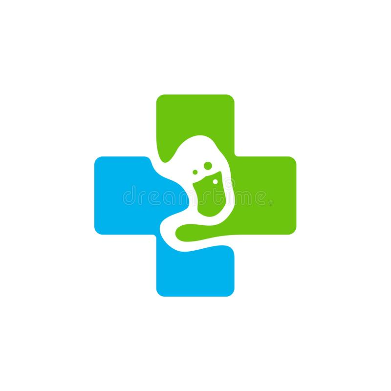 Żołądek plus z logo simbol, Zdrowy żołądka logo projekta szablonu wektor - Wektorowa ilustracja royalty ilustracja
